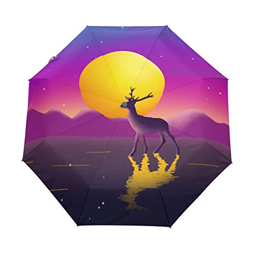 Mr.Lucien Cute Reindeer Bright Moon Watercolor Painting Windproof Automatic Folding Travel Umbrella, Lovely Animal Romantic Compact Auto Open and Close Umbrella with UV Protection 2020233