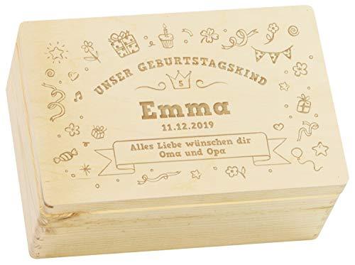LAUBLUST Holzkiste mit Gravur - Personalisiert mit ✪ Alter | Name | WIDMUNG ✪ - Größe M - Party Krone Motiv - Geschenkkiste zum Geburtstag
