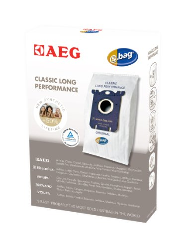 AEG GR201S original s-bag Classic Long Performance (4 Synthetik Staubsaugerbeutel, optimale Filtration und maximale Saugleistung, Hygieneverschluss, mehr Volumen, +50% Lebensdauer) weiß