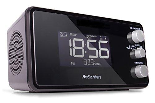 AudioAffairs Radiowecker mit PLL UKW Lautsprecher, 2 Weckzeiten mit Snooze-, Nap- und Sleep-Timer