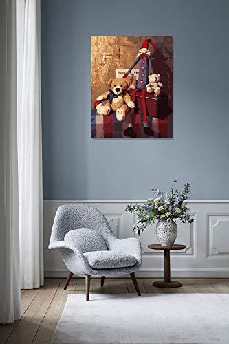 DIY Schilderen op nummer kinderen schilderen kitBeer en pop handgeschilderd frameloos schilderij 40x50CM