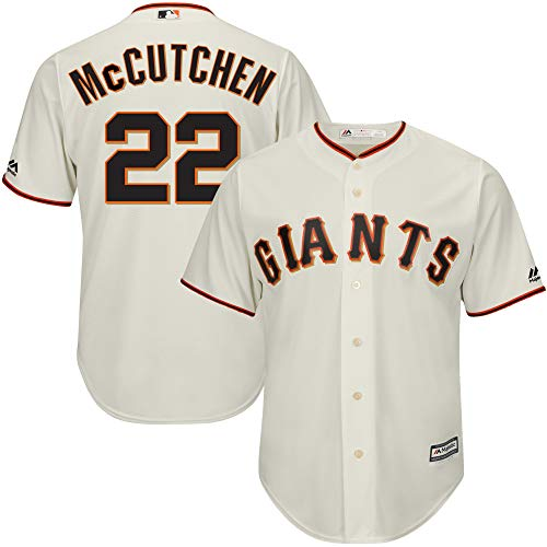 OuterStuff Andrew McCutchen San Francisco Giants MLB Majestic Youth Ivory Cream White Cool Base Replica Jersey (Youth Large 14-16)