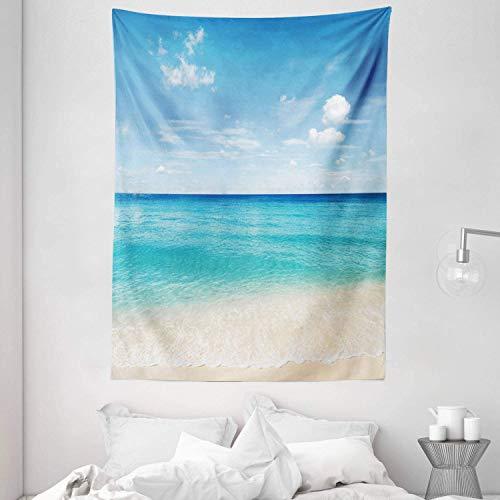 DUTRIX Ocean Tapestry, Tropical Caribbean Sea Shore Sand Beach Blue Calm Serene Peaceful Waters, Colgante de Pared para decoración de Dormitorio, Sala de Estar, Dormitorio, 60'X 80', Blanco Azul