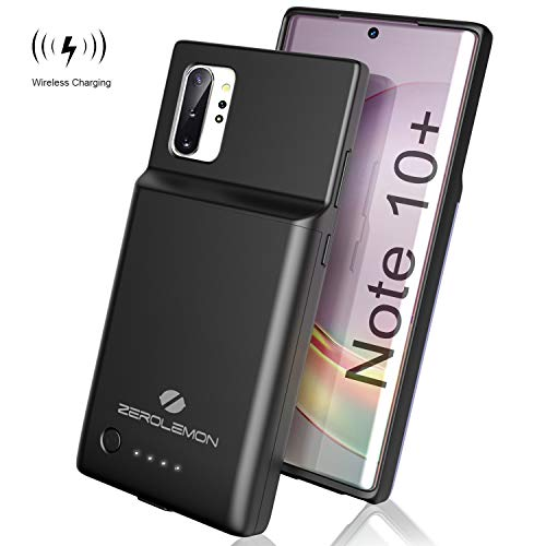 ZEROLEMON Galaxy Note 10 Plus Battery Case 5000mAh, Qi Wireless Charging & Android Auto & Samsung Dex Supported, Slim Power Extended Battery Charger Protective Case for Galaxy Note 10+ 5G - Black