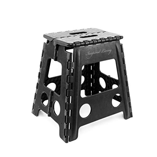 Inspired Living Folding Step Stool Heavy Duty 16quot High BLACK
