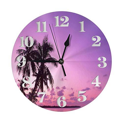 Playa Tablas de Surf Reloj de Palmeras Relojes de Pared con Pilas Reloj Redondo Decorativo Reloj de Pared fácil de Leer para Sala de Estar Oficina en casa Escuela 10 Pulgadas