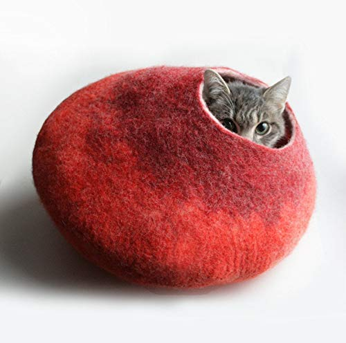 Warm Red Felt Cat Cave, Cat Cocoon, Wool Cat Bed, House, Pet Furniture - Hand Felted Wool - Crisp Contemporary Modern Bubble Design