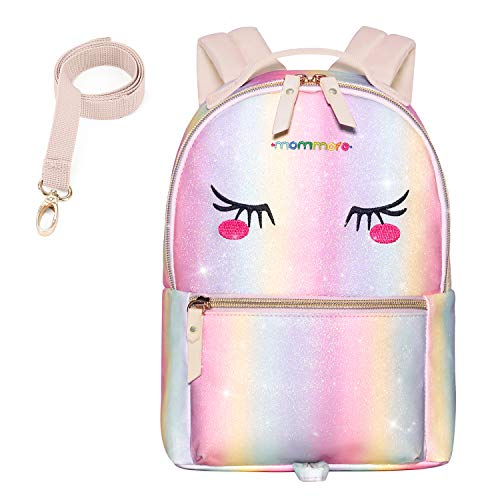 mommore Fashion Toddler Backpack Travel Kids Backpack with Small Toddler Leash (rainbow)