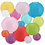 16 PCS Paper Lanterns, Round Colorful Paper Lantern with Wire Ribbing, Different Sized Colorful Lampshades, 4' 6' 8' 10' Paper Lampshades for Weddings, Parties, Celebrations, Patios