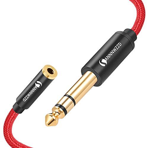 """ANNNWZZD Cavo da 3,5 mm a 6,35 mm, cavo di prolunga adattatore jack stereo da 6,35 mm 1/4""""maschio a 3,5 mm 1/8"""" femmina (2M)"""