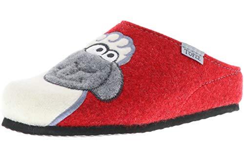 TOFEE Damen Hausschuhe Pantoffeln Naturwollfilz (Schaf) rot, Größe:42, Farbe:Rot