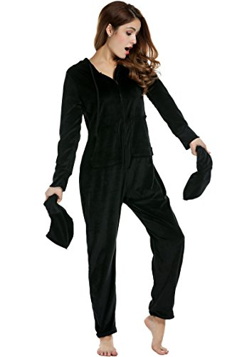Unibelle Damen Schlafanzug Coral-Strampler Erwachsenenstrampler Kapuzen-Footed Jumpsuit Pyjama M