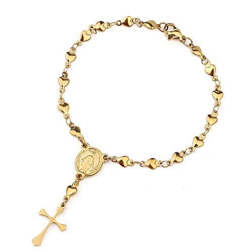 CLEARNICE Medalla Milagrosa Religiosa De Acero Inoxidable Y Pulseras con Dijes Cruzados Pulsera De Cadena De Corazón Pequeño para Mujer