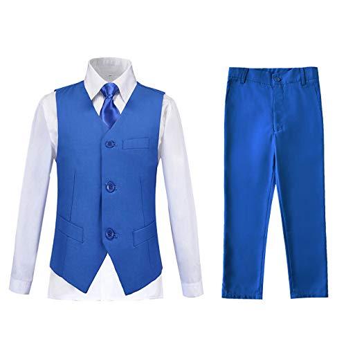 Lycody Suits for Kids Slim Fit Suit Vest Dress Pants White Shirt and Tie Boy Size 6 Tuxedo Royal Blue