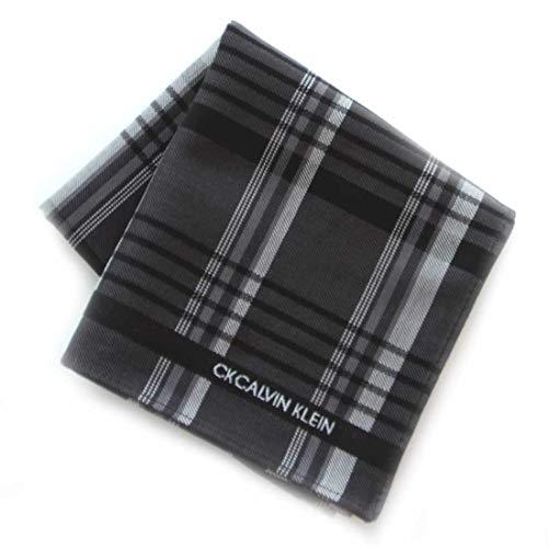 カルバンクライン 紳士 ハンカチ (ブラック) 大判 [綿100%] ビジネス メンズ ハンカチーフ 48cm CK CALVIN...