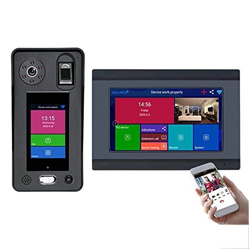 ZCZZ Videoportero inalámbrico WiFi, cámara de visión Nocturna, videoportero bidireccional de 7 Pulgadas, aplicación de reconocimiento Facial de Huellas Dactilares, 2 MB