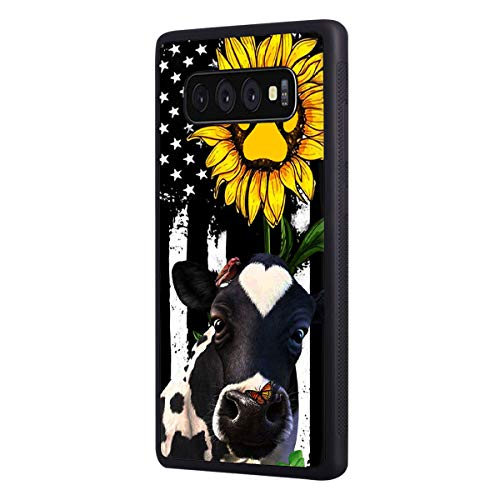 Galaxy S10 Plus Case, Slim Anti-Scratch Shockproof Rubber Protective Cover for Samsung Galaxy S10 Plus (2019) 6.4 inch,American Flag Sunflower and Cow