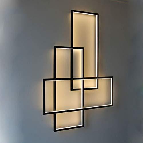 LED Modern Wandleuchte Dimmbar Wohnzimmer Schlafzimmer Innen Wandlampe mit Fernbedienung, Retro Eckig Design Metall Acryl-schirm Deckenlampe für Kinderzimmer Bad Flur Treppenhaus Leuchten L67*W47cm