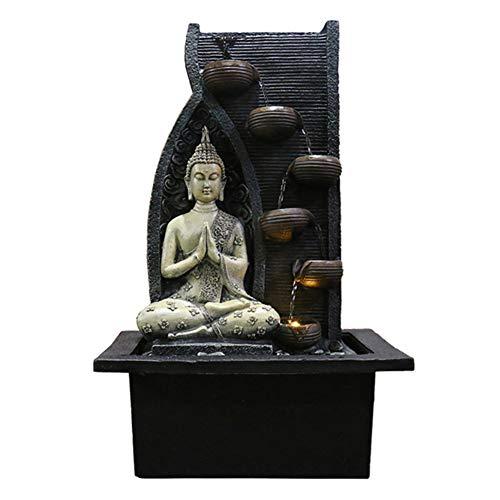 Zen Fuente De Agua para Interiores con Bomba De Agua - Estatua de Buda Adornos De Piedras Preciosas De Feng Shui Ideal para Oficina, Sala De Estar, Dormitorio,B