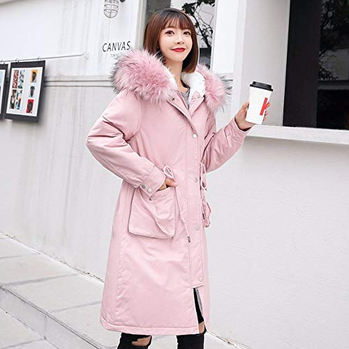 WFSDKN dames donsjas winterjas met trekkoord voor dames parka met leren capuchon lange mantel lederen kraag dunne mantel dames warme dikte