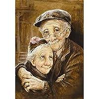 KGCFUNYP DIY クロスステッチキット ラインストーン塗装キット刺繍ダイヤモンドアートクラフト家の装飾 30*40cm 抱き締める老夫婦