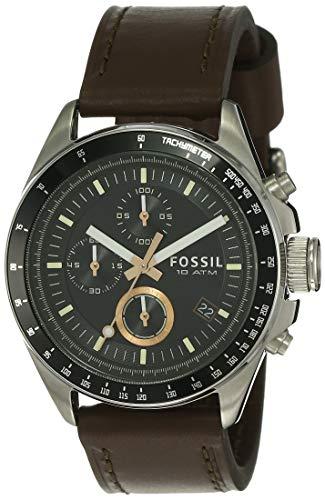 Fossil Herren Chronograph Quarz Uhr mit Leder Armband CH2885