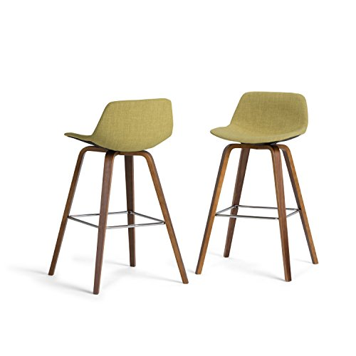 SIMPLIHOME Randolph Mid Century Modern Bentwood Counter Height Stool (Set of 2) in Acid Green Linen Look Fabric
