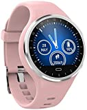 WUAZ Fitness Tracker Waterproof Color Touchscreen Strap Heart Rate Blood Pressure Blood Oxygen Monitoring Health Watch for Sports,Pink