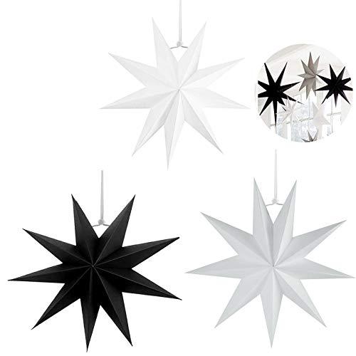 3 pcs Papier Stern Dekoration,30 cm Hänge-Deko aus Papier,faltsterne weihnachten,3D Sterne Form für Weihnachten,Sterne Form Papier,Papierstern Weihnachtsdeko,Weihnachtstern Dekor(Farbmischung,3 set)