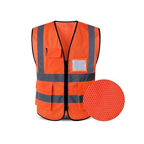 HYCOPROT 反射安全ベスト、ポケットとジッパー付きの高可視性メッシュ通気性のワークウェアはANSI/ISEA規格を満たします (S, オレンジ)