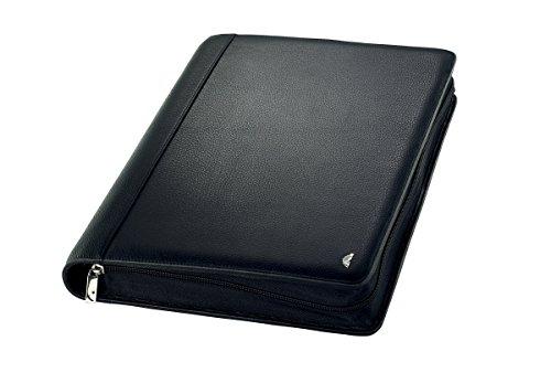 Chronoplan 50864 nachfüllbarer Terminplaner / Organizer / Terminkalender Mappe aus Premium Vollrindleder (Format A4 (265 x 345 mm) mit Reißverschluss, Ringbuch, ohne Kalendarium) schwarz