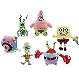 shenlanyu Juguete de Peluche 6 Unids / Lote Bob Esponja Peluche Relleno Bob Esponja / Patricio / Cangrejo / Plancton / Pulpo / Caracol Muñecas Niños Brinquedos Juguetes