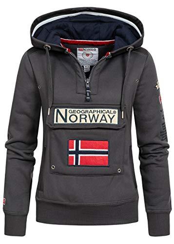 Geographical Norway GYMCLASS Lady - Sudadera para Mujer, con Capucha y Bolsillos Canguro, Manga Larga, Informal y cálida, Deportiva (Gris Oscuro, L)