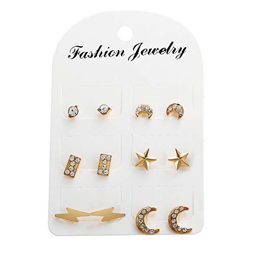 Scrox 6pars Pendientes Mujer Plata Estrellas Luna Aretes Kit Conjunto de Joyas Rhinestone Adornos Exquisito Pendientes Regalos Originales para Mujeres (Oro)