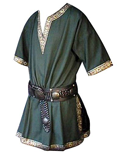 Hombres Manga Corta Renaissance Medieval De Los Camisa Casual con Cuello En V Disfraz Verde M