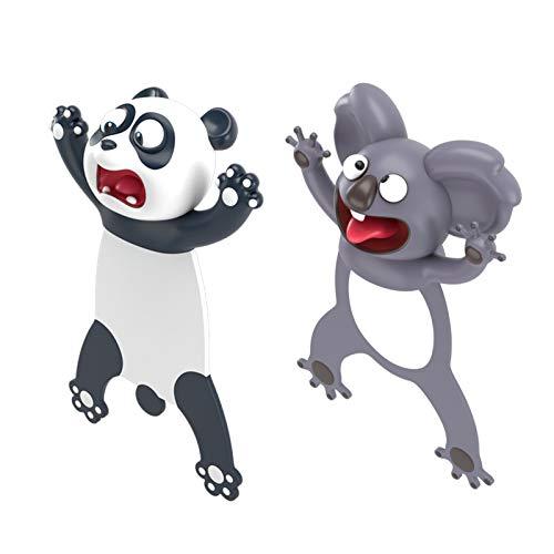 Cieovo 3D Cartoon Animal Bookmark 2 Pieces Squashed Ocean Animals Bookmark Black Panda Gray Koala Cute Reading Bookmark Novelty Funny Stationery Decorative Bookmark for Kids Boys Girls