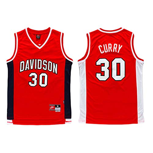 MMQQL Herren Trikot - Davidson College # 30 Stephen Curry Basketball Ärmelloses Top Fan Retro T-Shirt Mesh Atmungsaktive Version,M170~175cm/65~75kg