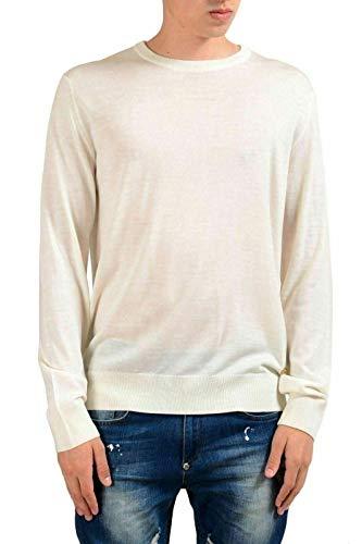 Versace Men's 100% Wool Off White Crewneck Sweater US XL IT 54