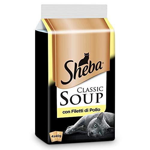 Sheba Classic Soup, Cibo per Gatto con Filetti di Pollo 4 x 40 g - 12 Confezioni (48 Bustine in Totale)