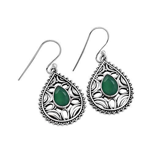 Pendientes de plata de ley 925 con piedra de ónix verde, hechos a mano, para regalo de boda, con sello de plata 925.