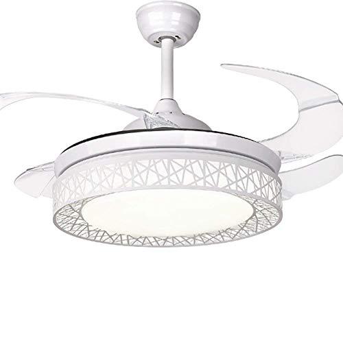 Moerun 42' Ventilatori a soffitto con luce 4 pale a scomparsa Ventilatore a soffitto a LED 3 cambi di colore Lampadario a 3 velocità con telecomando, motore silenzioso (Bianco elegante)