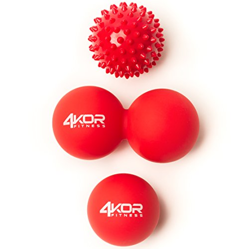 4KOR Fitness Massage Balls for Deep Tissue Muscle Recovery, Perfect for Myofascial Release and Trigger Point Therapy (Firm (Red))
