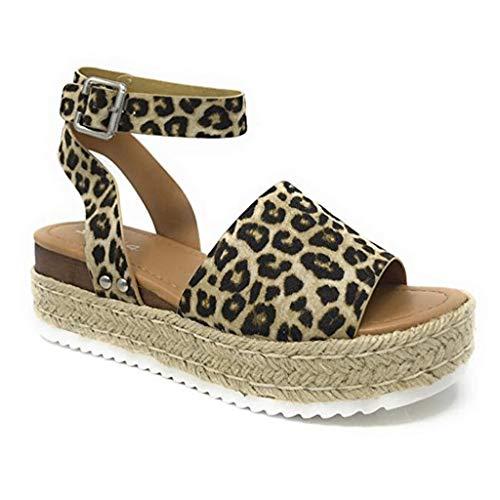 Sandalias Mujer Verano 2019 cáñamo Fondo Grueso Sandalias Punta Abierta Cuero Fondo Plano Zapatos Bohemias Romanas Hebilla Zapatillas Gris 35-43 riou (35, Marrón-2)