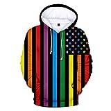 INSTO Lgbt Pride Hoodie Unisex Rainbow Gay Parade Pullover Sudadera con Big Bolsets Sportwear,H,M