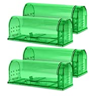 Navaris Humane Live Mouse Traps - Set of 4 Catch and Release Traps for Mice and Small Rodents - Eco Friendly and Pet Safe No Kill Mousetrap - Green