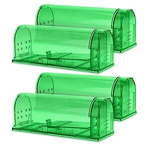 Navaris 4X Trampa para Ratas - Set de 4 trampas para Ratones y Otros Animales pequeños - Ratonera de plástico de Color Verde Transparente