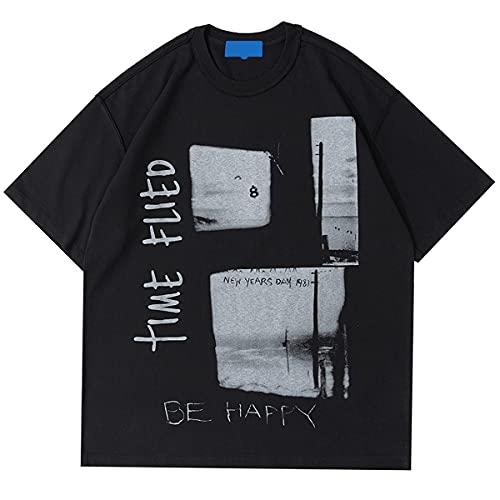 PengBO Hip Hop T-Shirt für Männer, Retro Foto Drucken Kurzhülse Klassisches Hemd,Black-Large