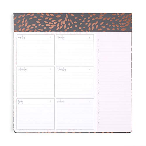 Erin Condren Schedule Pad/Productivity Pad 10' x 10' Weekly Layout - Painted Petals with Metallic Accents. Includes Bullet Point List to Organize Tasks and Blank Dates for Customization
