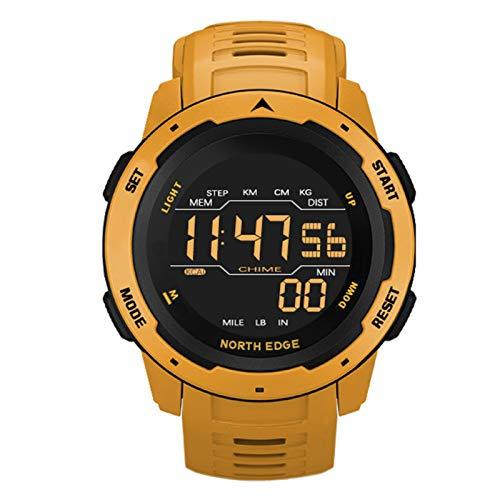 Reloj Inteligente Digital para Hombres - Reloj Deportivo a Prueba de Agua, podómetro de Tiempo Dual con Alarma para Viajes de Campamento