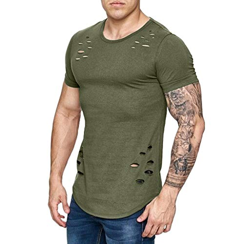 Gusspower Camiseta para Hombre Originales Agujero Roto Cuello Redondo sin Manga Corta Ropa de Deporte Irregular Camisa Traje Casual Moda para Correr M-3XL